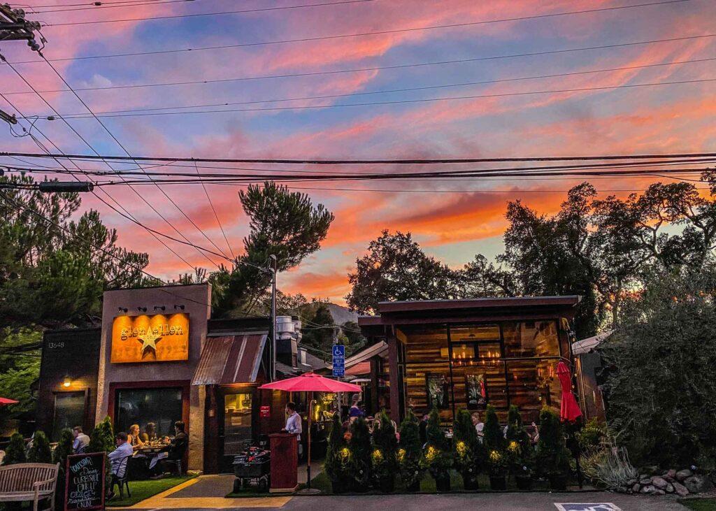 Glen Ellen street at sunset