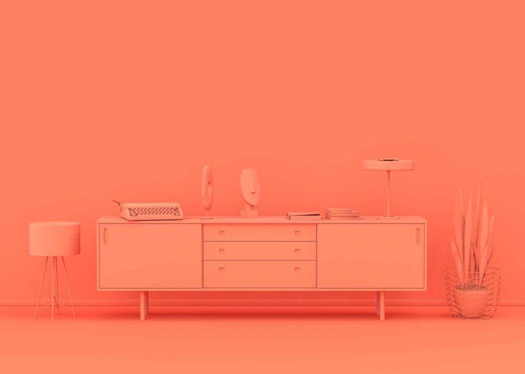 Orange room stock photo