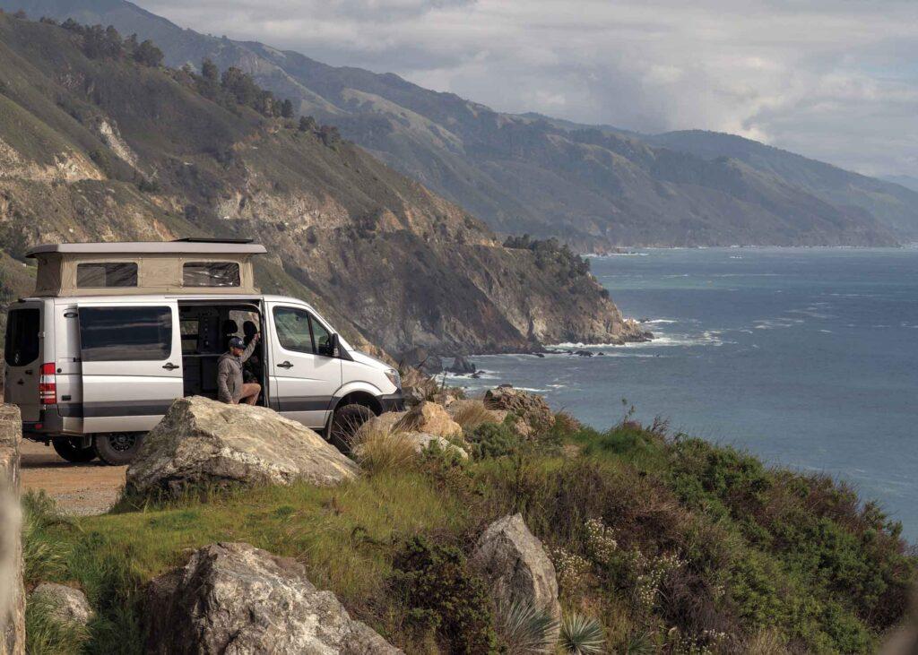 Moterra campervan overlooking water view