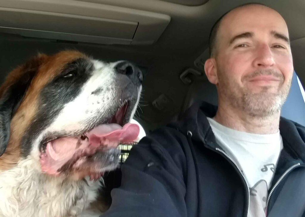Paul Thomas selfie with dog