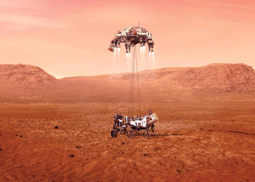 NASA illustration of Perseverance landing on Mars
