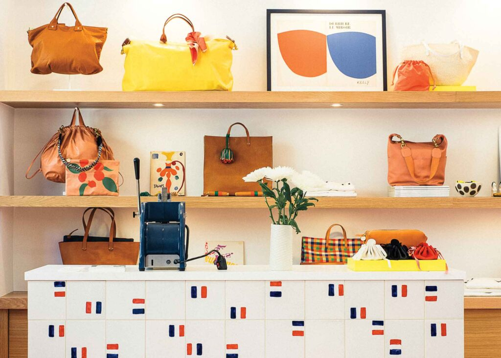 colorful array of bags and other items in Clare V. in Hayes Valley