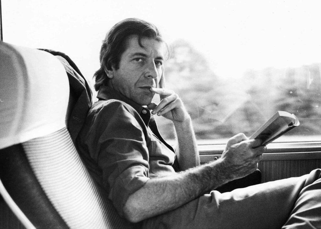 Leonard Cohen on a train