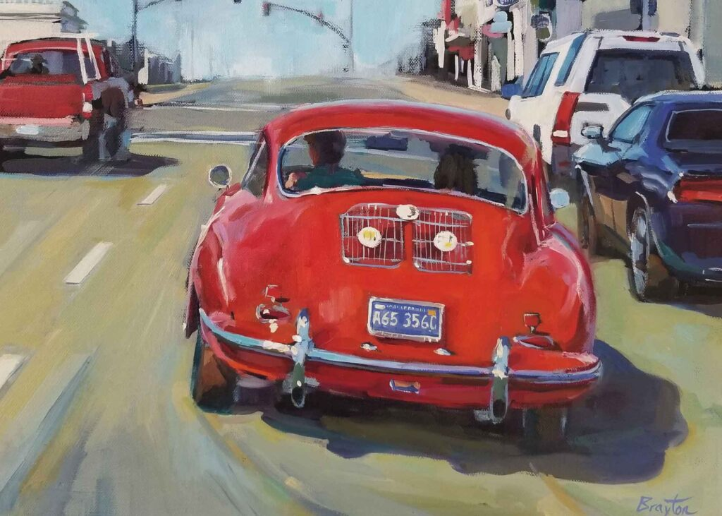 painting of red car driving away