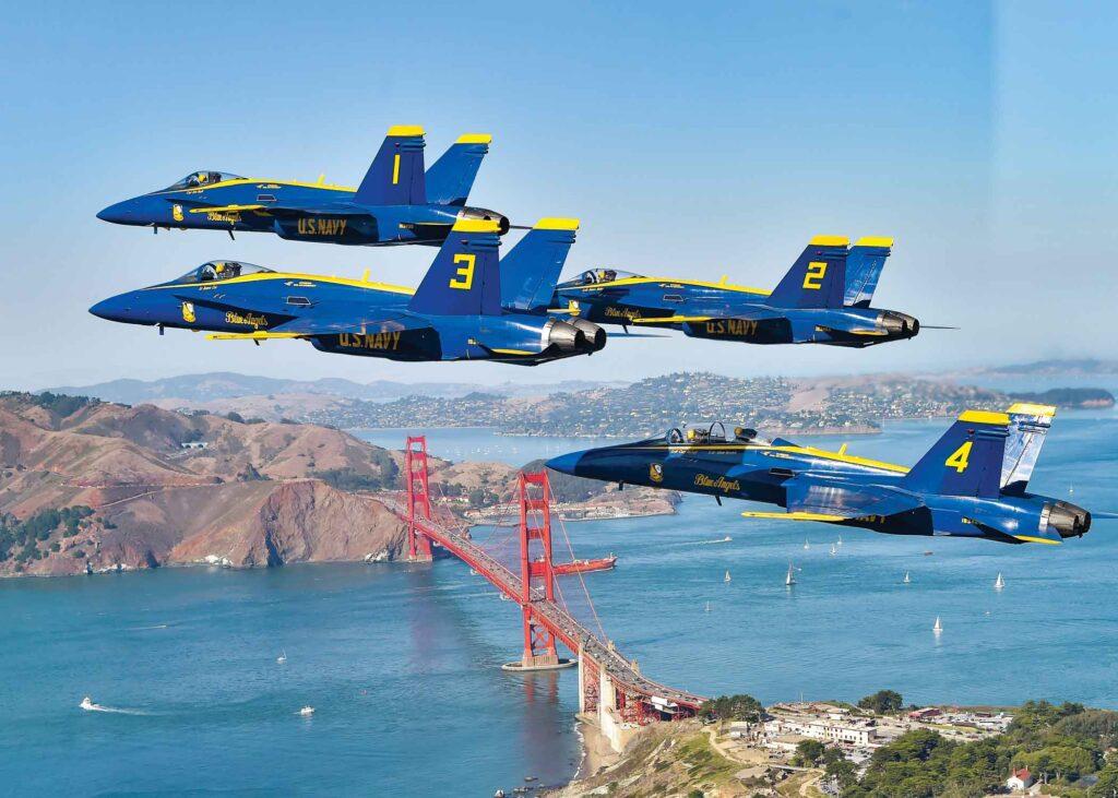 Blue Angel planes flying above the Golden Gate Bridge